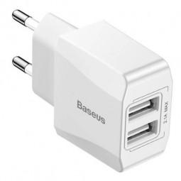 Baseus Mini Charger 2x USB, 2.1A QC, White - buitinis...