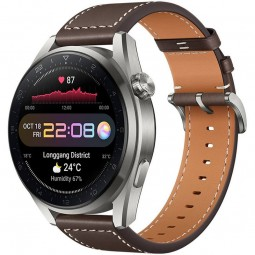 Huawei Watch 3 Pro 48mm, Silver / Brown Leather Strap -...