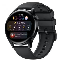 Huawei Watch 3 46mm, Black / Black Flouroelastomer Strap...
