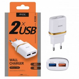 M.TK Wall Charger K3366, 5V, 2.4A, 2x USB , White -...