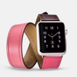 Icarer Apple Watch Band 42mm/44mm, Leather, Double, Coffe...
