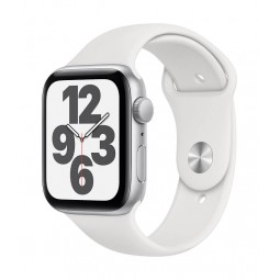 Apple Watch SE GPS, 44mm Silver Aluminium Case with White...