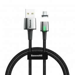 Baseus Zinc Magnetic USB-C 3A 1m kabelis, juodas /...